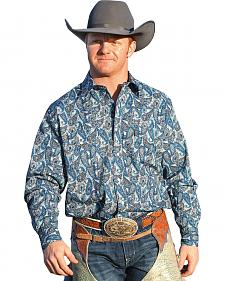 Cinch Men's Blue Grey Paisley Snap Modern Fit Western Shirt