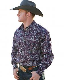 Cinch Men's Burgundy Paisley Modern Fit Snap Western Shirt