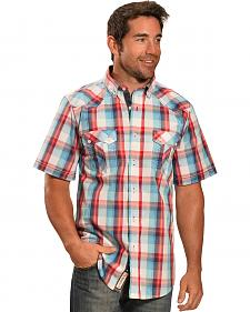 Petrol Men's Red and Light Blue Plaid Short Sleeve Shirt