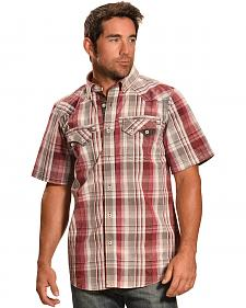 Petrol Men's Red Plaid Short Sleeve Shirt