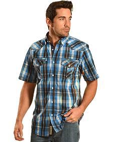 Petrol Men's Blue Plaid Short Sleeve Western Shirt