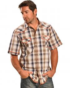 Petrol Men's Brown Plaid Short Sleeve Western Snap Shirt