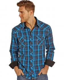 Rock and Roll Cowboy Men's Teal and Black Plaid Snap Western Shirt