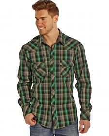 Rock and Roll Cowboy Men's Green Plaid Two Pocket Snap Western Shirt