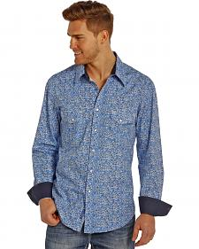 Rock and Roll Cowboy Men's Blue Swirl Two Pocket Snap Western Shirt