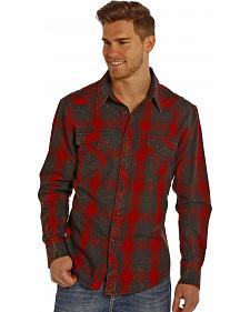 Rock and Roll Cowboy Men's Red and Black Plaid Flannel Western Shirt