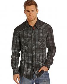 Rock and Roll Cowboy Men's Black Plaid Two Pocket Snap Western Shirt