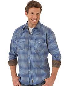 Wrangler Retro® Men's Blue Two Pocket Long Sleeve Shirt