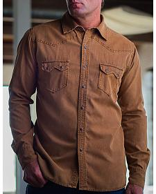 Ryan Michael Men's Gold Sawtooth Silk Canvas Western Shirt