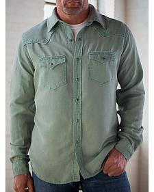 Ryan Michael Men's Sage Silk Linen Pick Stitch Shirt