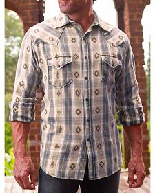 Ryan Michael Men's Rattan Large Aztec Dobby Plaid Shirt