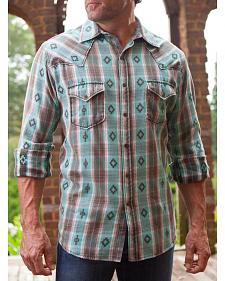 Ryan Michael Men's Turquoise Large Aztec Dobby Plaid Shirt