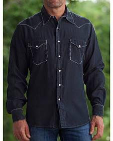 Ryan Michael Men's Black Whip Stitch Silk Twill Shirt