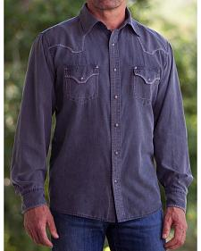 Ryan Michael Men's Black Sand Wash Silk Cotton CanvasShirt