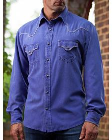 Ryan Michael Men's Blue Cobalt Western Shirt
