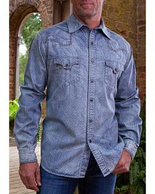 Ryan Michael Men's Indigo Discharge Printed Denim Shirt