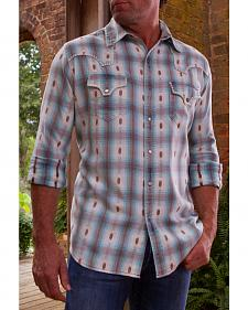 Ryan Michael Men's Blue Ombre Plaid Western Shirt