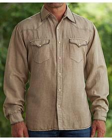 Ryan Michael Men's Tan Silk Linen Sawtooth Snap Shirt
