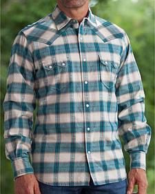 Ryan Michael Men's Ombre Navy Plaid 9 Western Shirt