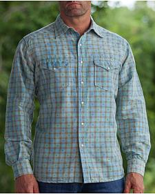 Ryan Michael Men's Aqua Vintage Dobby Plaid Shirt
