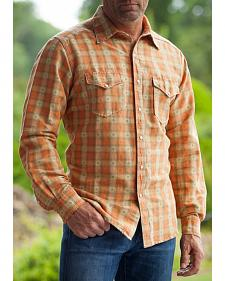 Ryan Michael Men's Wheat Vintage Dobby Plaid Shirt