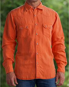 Ryan Michael Men's Salmon Silk Linen Sawtooth Snap Shirt