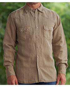 Ryan Michael Men's Brown Silk Linen Sawtooth Snap Shirt