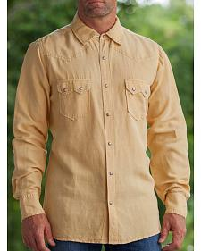 Ryan Michael Men's Wheat Silk Linen Sawtooth Snap Shirt