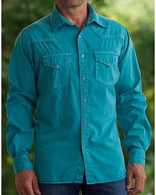 Ryan Michael Men's Teal Pick Stitch Silk Gabardine Shirt