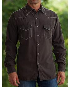 Ryan Michael Men's Coffee Whip Stitch Silk Twill Shirt