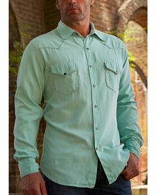 Ryan Michael Men's Turquoise Whip Stitch Silk Twill Shirt