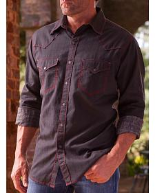 Ryan Michael Men's Black Diamond Stripe Jacquard Western Shirt
