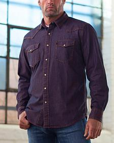 Ryan Michael Men's Indigo Pigment Dye Denim Western Shirt