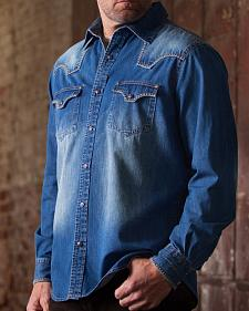 Ryan Michael Denim Blanket Stitch Western Shirt