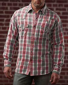 Ryan Michael Men's Large Aztec Dobby Plaid Shirt