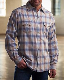Ryan Michael Men's Blue Melange Plaid Western Shirt