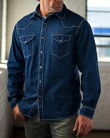 Ryan Michael Men's Dark Blue Indigo Distressed Jacquard Western Shirt