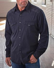 Ryan Michael Men's Black Whip Stitch & Embroidered Shirt