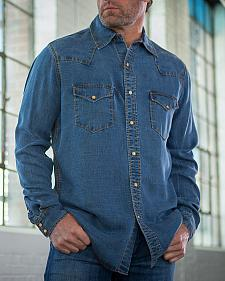 Ryan Michael Men's Indigo Vintage Tencel Denim Shirt