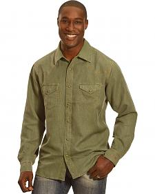 Ryan Michael Men's Olive Waffle Texture 4 Needle Shirt