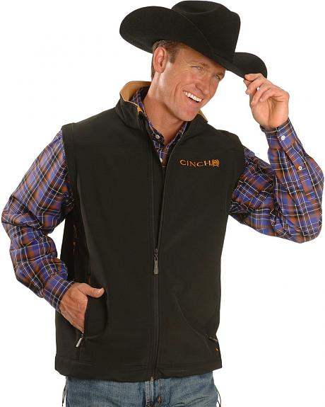 Cinch  Black Embroidered Fleece Vest