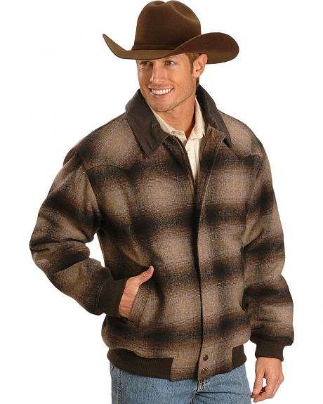 Powder River Outfitters Ombre Plaid Wool Bomber Jacket