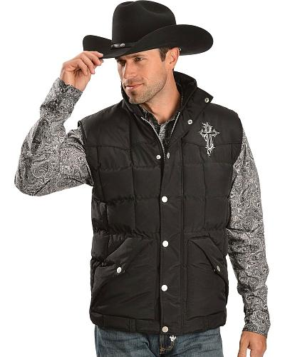 Cowboy Hardware Barbed Wire Cross Quilted Vest Western & Country 186012-010