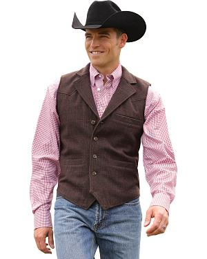 Miller Ranch Plaid Wool Lapel Collar Vest