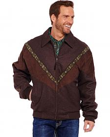 Cripple Creek Men's Brown Aztec Trim Wool Jacket