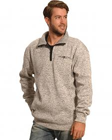 Cowboy Hardware Men's Oatmeal Brown Barbed Wire 1/4 Zip Pullover