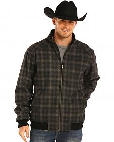 Powder River Outfitters Men's Black Plaid Wool Bomber Coat