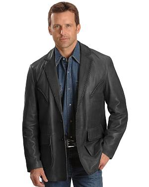 Scully Whipstitch Lambskin Leather Blazer - Reg, Tall