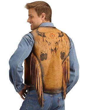Kobler Leather Vest with Bull Skull Design