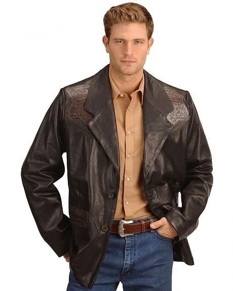 Kobler Hand Tooled Leather Blazer